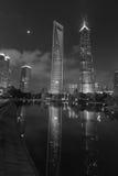 Opinión de la noche de Shangai en B&W Imagen de archivo