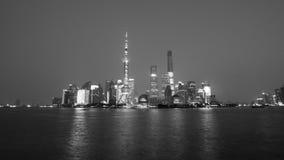 Opinión de la noche de Shangai en B&W Imagenes de archivo