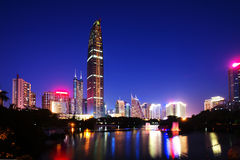 Opinión de la noche de ShenZhen Fotos de archivo