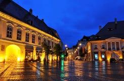 Opinión de la noche de Sibiu Foto de archivo libre de regalías