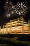 Opinión de la noche de Tiananmen sobre los fuegos artificiales Foto de archivo libre de regalías