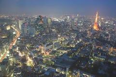 Opinión de la noche de Tokio foto de archivo