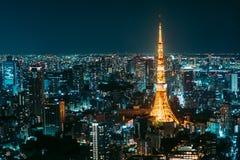 Opinión de la noche de Tokio Imagen de archivo libre de regalías