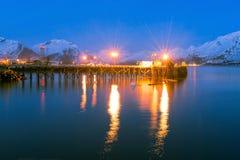 Opinión de la noche de Valdez Alaska Foto de archivo