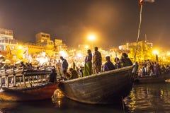 Opinión de la noche de Varanasi de Fotos de archivo
