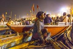 Opinión de la noche de Varanasi de Imágenes de archivo libres de regalías