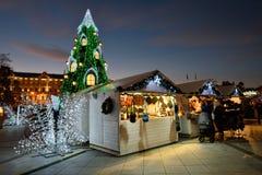 Opinión de la noche del árbol de navidad en Vilna Imágenes de archivo libres de regalías