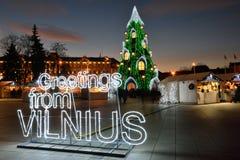 Opinión de la noche del árbol de navidad en Vilna Fotografía de archivo libre de regalías