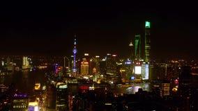 Opinión de la noche del ¼ Œ4k Timelapse de Shangai Chinaï almacen de metraje de vídeo