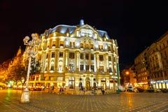 Opinión de la noche del centro de ciudad en Timisoara el 22 de julio de 2014, Rumania Imagen de archivo libre de regalías