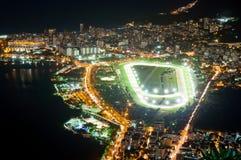 Club de jockeys, Lagoa Rodrigo de Freitas y Leblon en Río de Janeiro imagen de archivo libre de regalías
