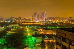 Opinión de la noche del distrito residencial de St Petersburg Imagen de archivo