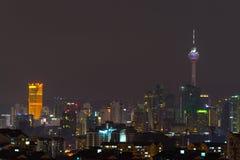 Opinión de la noche del horizonte de Kuala Lumpur Imágenes de archivo libres de regalías