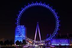 Opinión de la noche del ojo de Londres Imágenes de archivo libres de regalías