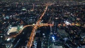 Opinión de la noche del paisaje urbano de Osaka Foto de archivo libre de regalías