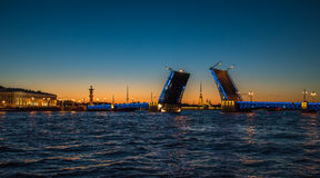 Opinión de la noche del puente del palacio, St Petersburg, Rusia Fotografía de archivo