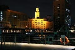 Opinión de la noche del puerto de Japón Yokohama Fotografía de archivo libre de regalías