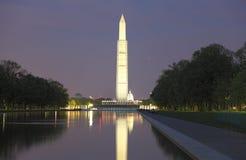 Opinión de la noche del Washington DC Imagenes de archivo
