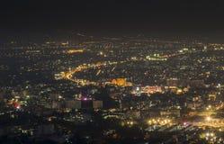 Opinión de la noche en el paisaje de la ciudad Foto de archivo libre de regalías