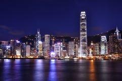 Opinión de la noche en Hong-Kong fotos de archivo