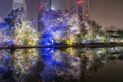 Opinión de la noche de Guangzhou China Fotografía de archivo