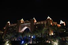 Opinión de la noche de la isla de palma - Dubai Fotografía de archivo