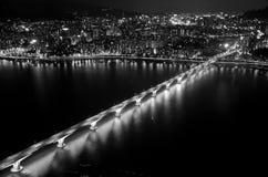 Opinión de la noche la ciudad y Han River de Seul, blanco y negro Fotos de archivo libres de regalías