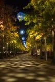 Opinión de la noche la reina Elizabeth Olympic Park, Londres Reino Unido Imágenes de archivo libres de regalías