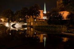 Opinión de la noche sobre cátedra gótica Fotografía de archivo libre de regalías