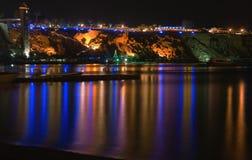 Opinión de la noche sobre el mar Fotos de archivo libres de regalías