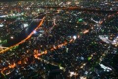 Opinión de la noche de Tokio de la altura de 350 metros visión desde la torre, Japón fotos de archivo libres de regalías