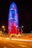 Opinión de la noche Torre agbar. Barcelona fotos de archivo
