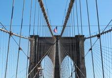 Opinión de la obra clásica del puente de Brooklyn foto de archivo