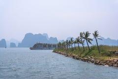 Opinión de la palma de la bahía de Halong Imágenes de archivo libres de regalías