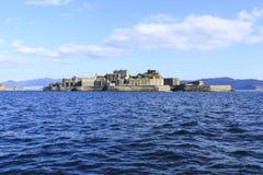 Opinión de la parte posterior de la isla del acorazado Foto de archivo