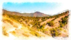 Opinión de la pintura de la acuarela del fondo del paisaje de la montaña Fotos de archivo