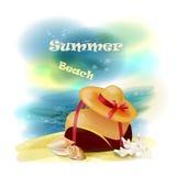 opinión de la playa con el bolso, las cáscaras y la paja h Fotografía de archivo