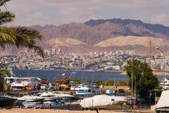 Opinión de la playa de Eilat en Israel Fotografía de archivo libre de regalías