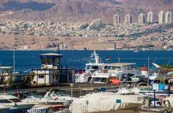 Opinión de la playa de Eilat en Israel Imagenes de archivo
