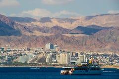 Opinión de la playa de Eilat en Israel Imagen de archivo libre de regalías