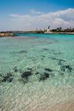 Opinión de la playa en Chipre Foto de archivo