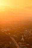 Opinión de la puesta del sol Imágenes de archivo libres de regalías
