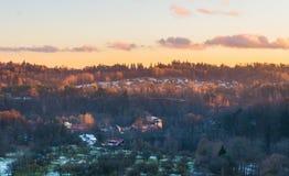 Opinión de la puesta del sol Imagenes de archivo