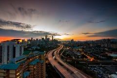 Opinión de la puesta del sol de la ciudad de Kuala Lumpur. imágenes de archivo libres de regalías