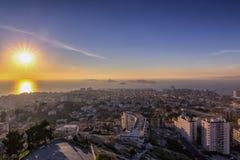 Opinión de la puesta del sol de Marsella Francia Fotos de archivo