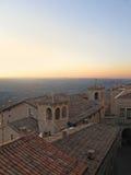 Opinión de la puesta del sol de San Marino Castle Foto de archivo