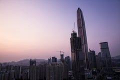 Opinión de la puesta del sol de Shenzhen en China Fotos de archivo