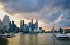 Opinión de la puesta del sol de Singapur Marina Bay Foto de archivo
