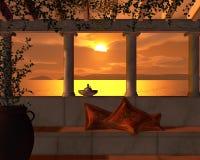Opinión de la puesta del sol de una terraza romana Imágenes de archivo libres de regalías