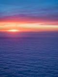 Opinión de la puesta del sol del aeroplano Imagen de archivo libre de regalías